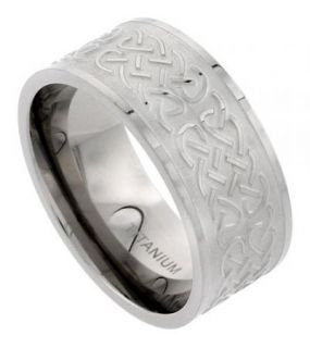 Titanium 10mm Comfort Fit Wedding Band Ring, with Celtic Knot Work