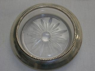 Frank Whiting Beaded Edge Sterling Silver Crystal Glass Coasters 04