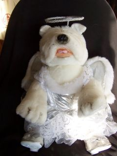 Build A Bear White French Bull Dog with Angel Outfit