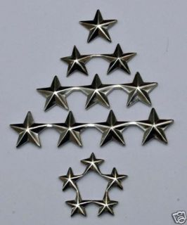 Different Pairs of General Insignia Rank Pins 1 2 3 4 5 Silver Color