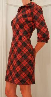Vtg 60s Wool Edith Flagg CA USA Mod Red Plaid Wiggle Mini Career Dress