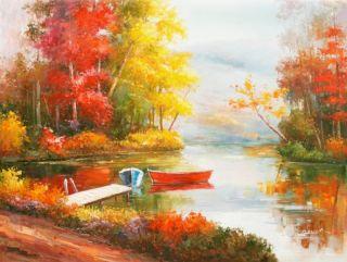 Season Autumn Fall Trees Forest Lake 36X48 Oil Painting