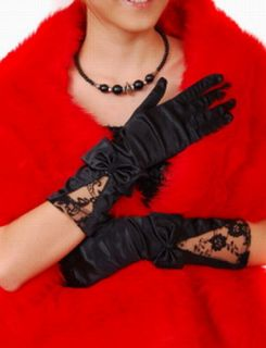 Black Satin Formal Prom Dance Gloves w Lace Bow Trim