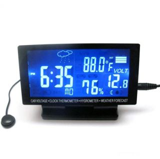 Digital Clock Thermometer Hygrometer Black Weather Forecast Top