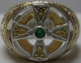 FRANKLIN MINT 24 K GOLD SILVER EMERALD IRISH CELTIC CROSS MENS RING SZ