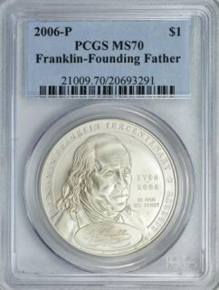 2006 P Benjamin Franklin Founding Father Commemorative Silver Dollar