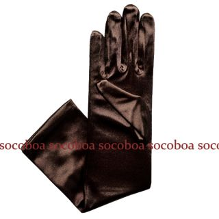Brown Elbow Length Satin Opera Formal Gloves Halloween costume dance