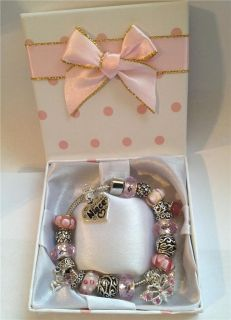 Personalised Girls Ladies Dangle Butterfly Charm Bracelet in Gift Box