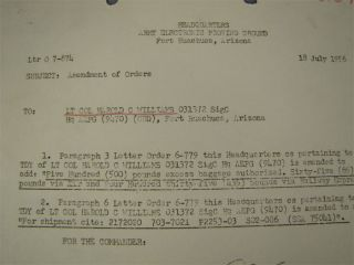 1956 U s Army Fort Huachuca Arizona Document Orders