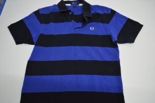 Fred Perry Blue Black Polo Shirt M Medium Cotton