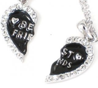 New BBF BEST FRIEND Heart Black 2 Pendants 2 Necklaces Friendship Fast