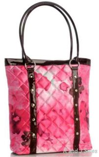 Quilted Pink Floral Flowers Tote Bag Handbag Purse New