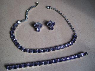 Vintage WEISS Rhinestone Necklace Earrings Bracelet SET Jewelry SIGNED