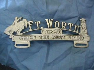 Fort Worth Texas License Plate Topper