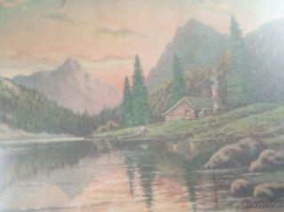 1946 Frederick Ogden Cabin Lake Framed Print Litho Art