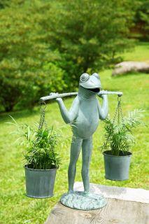 Farmer Frog Plant Planter Holder Verde Green Whimsy Flower Pot Garden