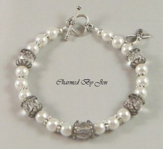 LUNG CANCER Awareness Czech Glass Pearl Bracelet w HOPE Ribbon Charm