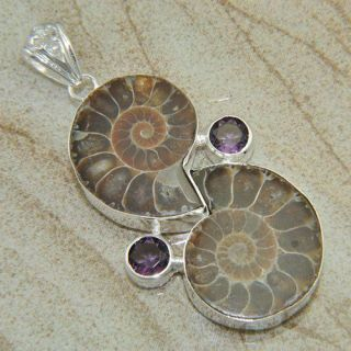 HOT FASHION JEWELRY AMMONITE FOSSIL GEMSTONE PENDANT 136CT 2 7/8