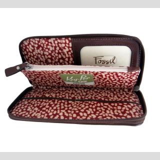 Fossil Key per Zip Clutch Wallet Checkbook Organizer Floral Quilt
