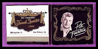 1960s Pete Fountains French Quarter Inn Match Book New Orleans La