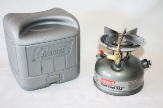 COLEMAN DUAL FUEL 533 GAS CAMPING STOVE W CASE 5 00 white or unleaded