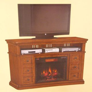 NEW Fremont Media Electric Fireplace Set w/ Infrared Quartz Heater Oak