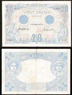 France 20 Francs 30 December 1912 VF RARE
