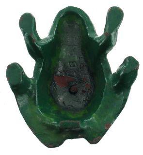 Antique Cast Iron Figural Frog Original Green Paint lb 1894