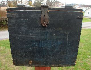 Super Nice 19C Old Original Blue Painted Wooden Egg Crate Box NICE