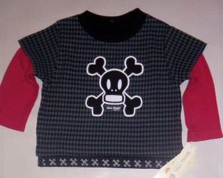 Paul Frank Black and Red Skull and Bones 2 Fer Shirt Boys Size 12