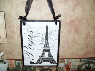 Paris decor Eiffel tower plaque sign French decor wall hanging