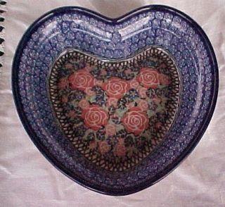 Polish Pottery CA Unikat Large Heart Shaped Bowl 8 1 4 X 2 1 4 Signed