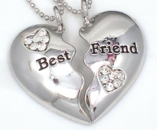Friendship BEST FRIEND Heart Silver Tone 2 Charms 2 Necklaces New Item