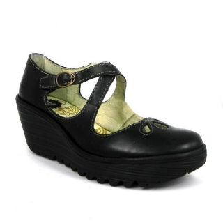 Fly London Yate Womens Leather Cross Straps Wedge Platform Shoes Black
