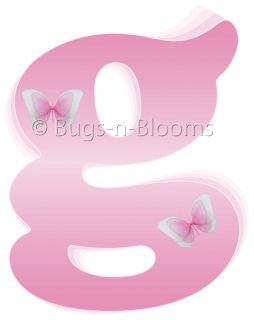 Pink Letters Name Butterfly Room Decor Wall Stickers Vinyl Girl