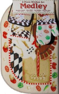 Ivory n Chef Mat Towel Oven Mitt Pot Holder 4 Piece Kitchen Rug Set