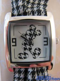 Mouse Fashion Watch Black White Checkered Cloth Steel New