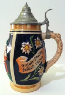 Beer Stein from Germany Glazed Ceramic  Guten Mutes Frisch
