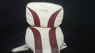 GIII RED AND BEIGE BASS/PONTOON BOAT SEAT COVER/CUSHIONS K/I #42