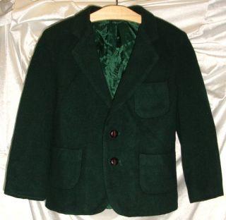 Dark Green Wool Blend Boys Suit Jacket Blazer Sport Coat Size 6