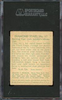 1934 36 Diamond Stars 17 Frankie Frisch St Louis Cardinals HOF SGC 50