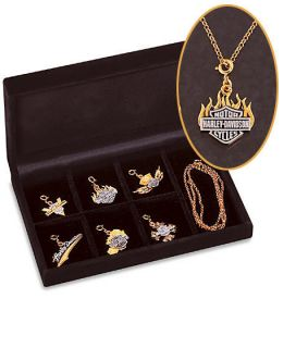 Franklin Mint Harley Davidson Charm Necklace Gold