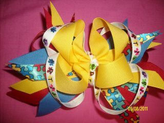 Autism Awareness Boutique Hair Bow Red Yellow Blue Choice of Clips