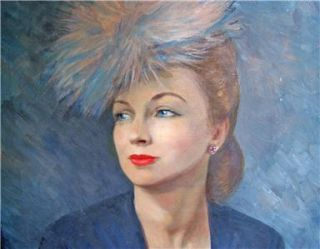Joan Fontaine Vintage Oil Painting Art Collectible Canvas Signed