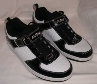 Mens Sz 10 Black and White Patent Leather FUBU Sneakers