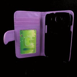 Samsung Galaxy S3 i9300 Purple Flip Wallet ID Card Case w/ Screen