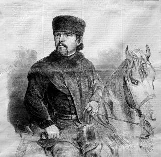 Franz Sigel on Horseback German Military US Civil War Old Portrait