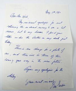 Gale Gordon I Love Lucy Written and Signed Fan Letter JSA