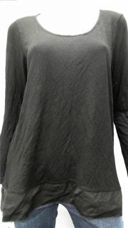 Daisy Fuentes Ladies Womens L Rayon Blouse Top Black Solid Long Sleeve