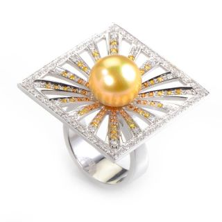 Staurino Fratelli 18K White Gold Diamond Pearl Ring